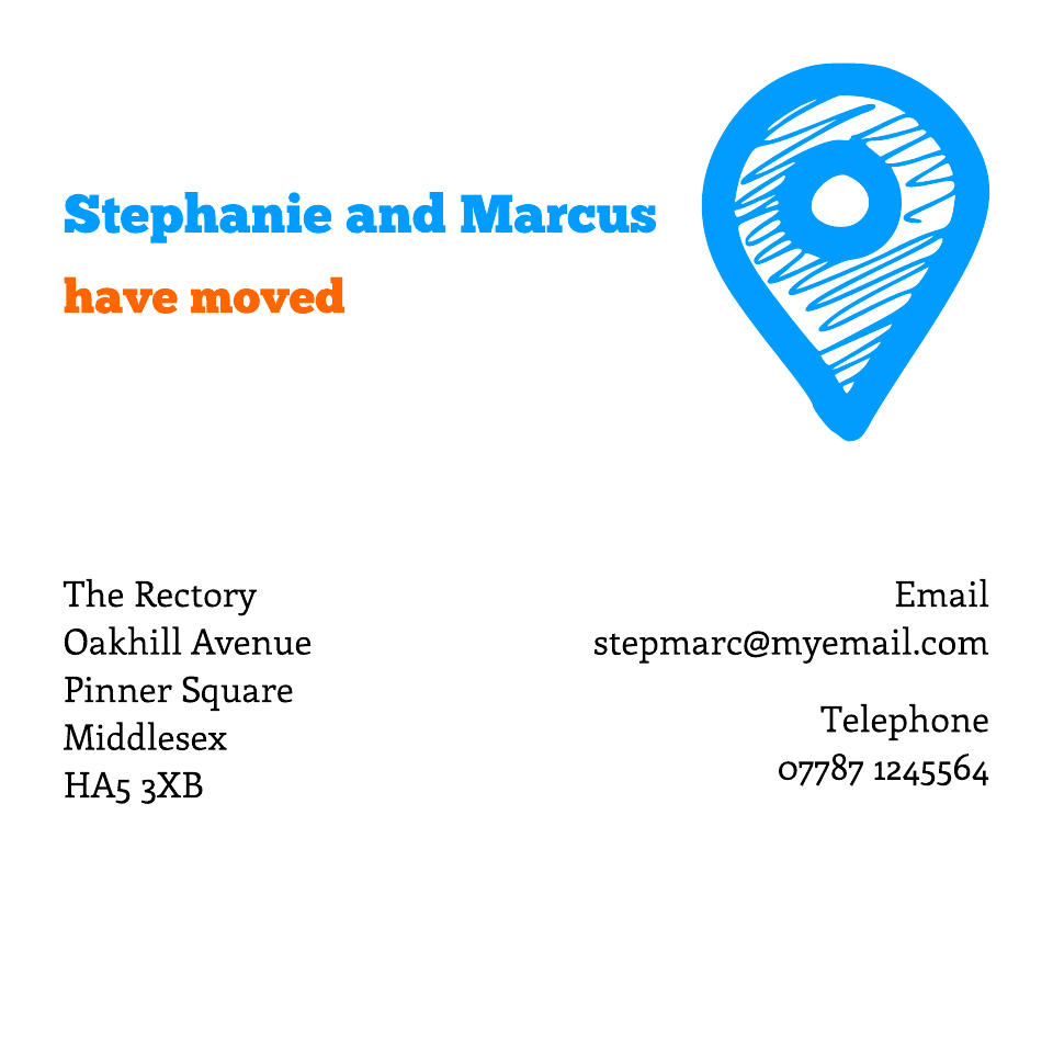 Personalised Stationery : Square Icon'ish Change of Address : Bucknall