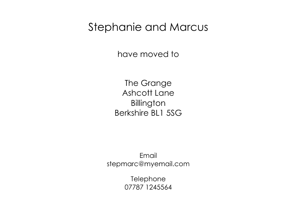 Roehampton Icon'ish Change of Address Cards | Design, proof and buy online | Personalised Stationery
