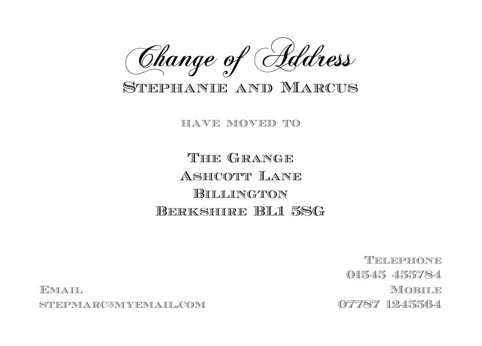 Personalised Stationery : Traditional Change of Address Cards : Buckingham