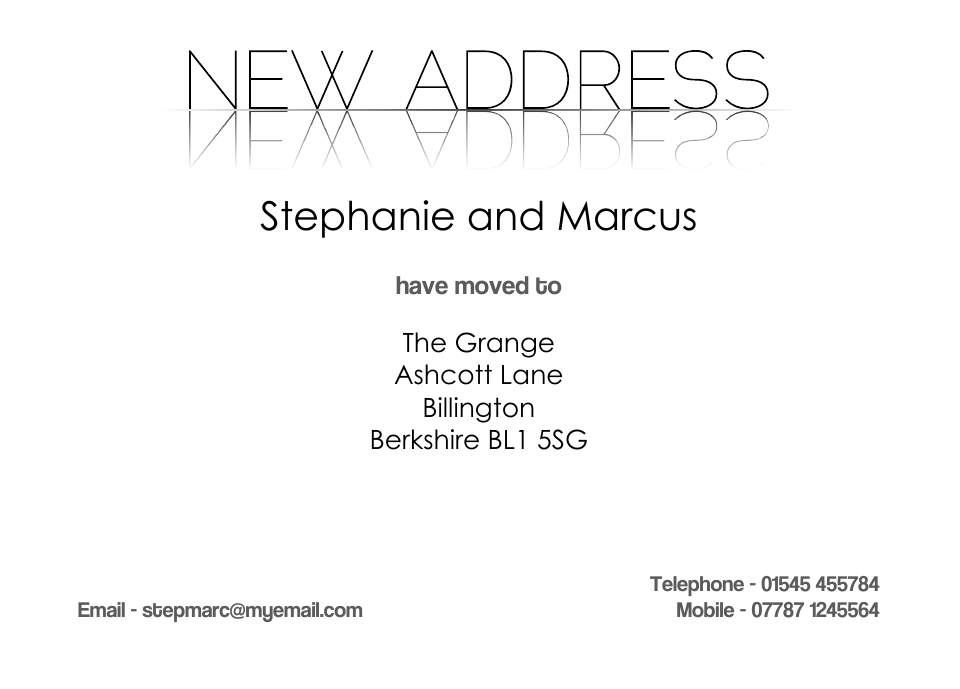 Personalised Stationery : Traditional Change of Address Cards : Claris