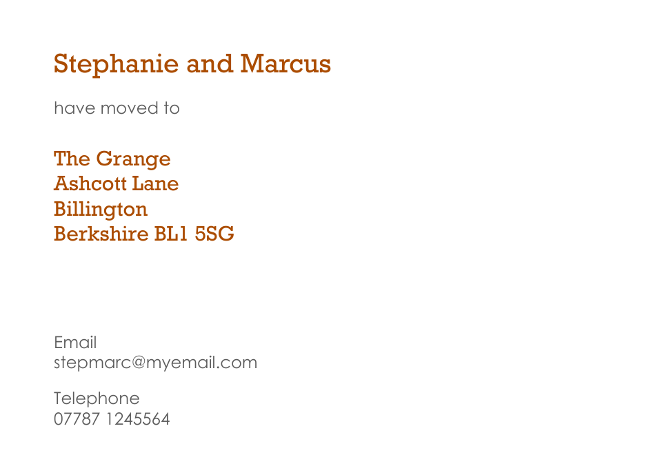 Personalised Stationery : Traditional Change of Address Cards : Greenwich