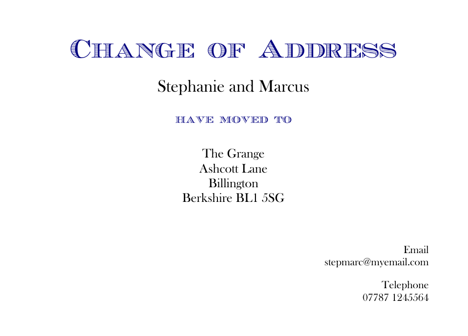 Lambeth Traditional Change of Address Cards | Design, proof and buy online | Personalised Stationery