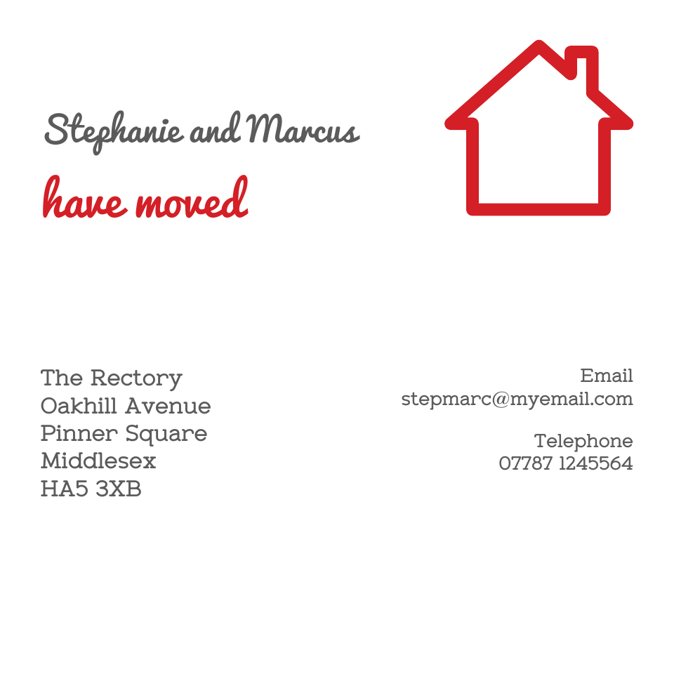 Pinner Square Square Icon'ish Change of Address | Design, proof and buy online | Personalised Stationery