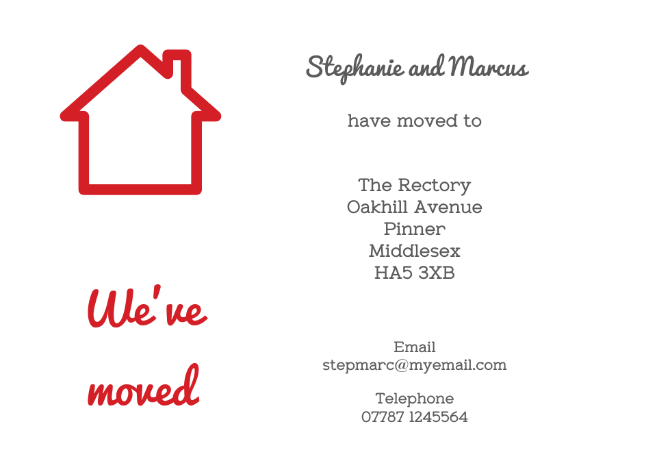 Pinner Icon'ish Change of Address Cards | Design, proof and buy online | Personalised Stationery