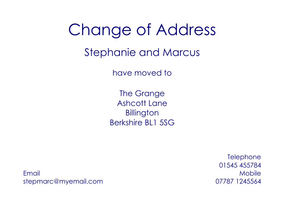 Personalised Stationery : Traditional Change of Address Cards : Westminster