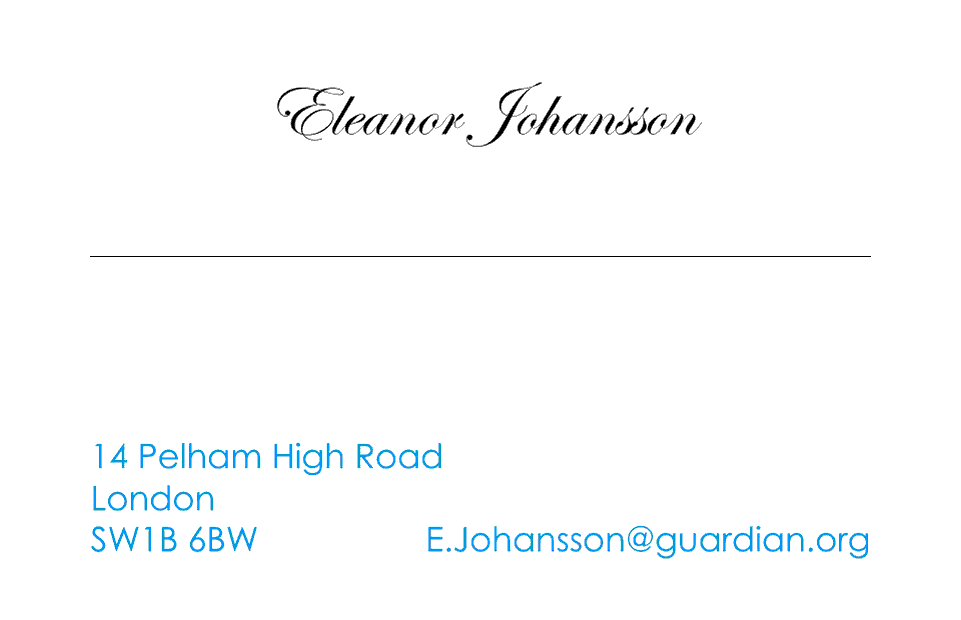 Johansson Business Cards Ultra-Twin | Design, proof and buy online | Personalised Stationery
