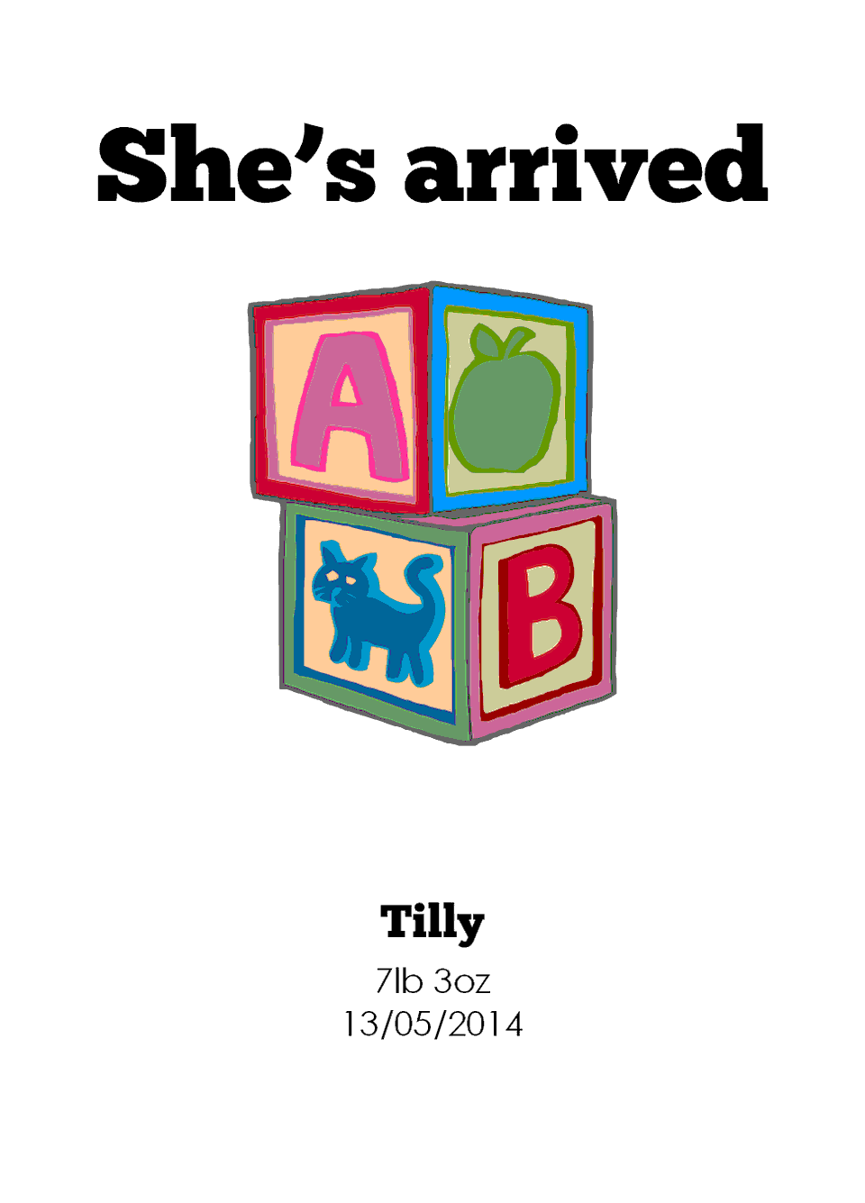 Tilly Contemporary Folded Cards | Design, proof and buy online | Personalised Stationery