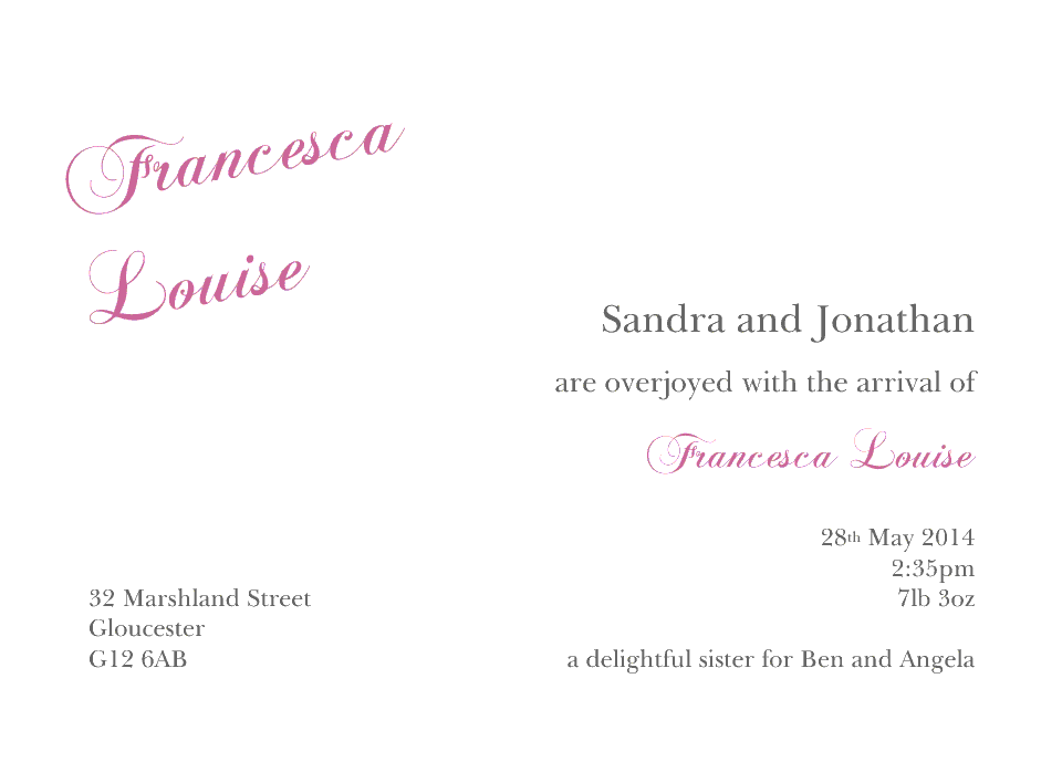 Francesca Classic Announcements | Design, proof and buy online | Personalised Stationery