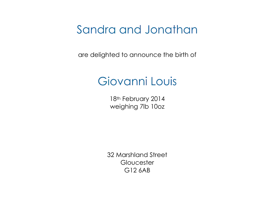 Personalised Stationery : Classic Announcements : Giovanni