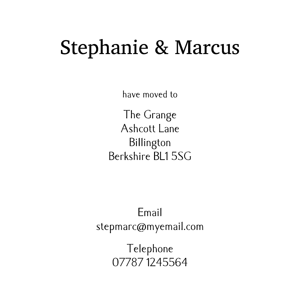 Hampton Square Icon'ish Change of Address | Design, proof and buy online | Personalised Stationery