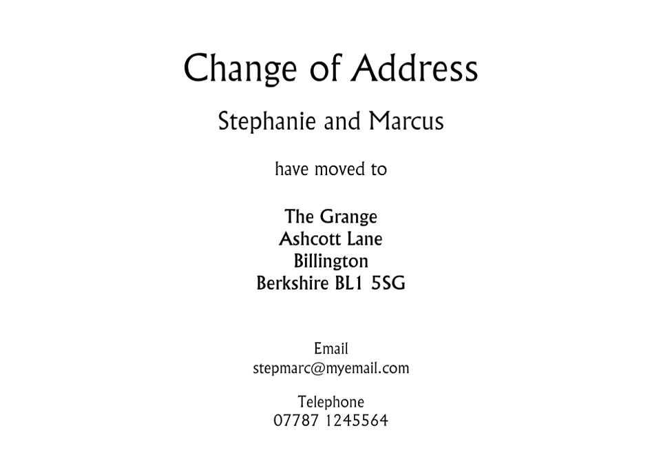 Personalised Stationery : Traditional Change of Address Cards : Victoria