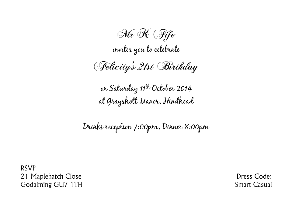Personalised Stationery : A6 Birthday Party Invites : Felicity