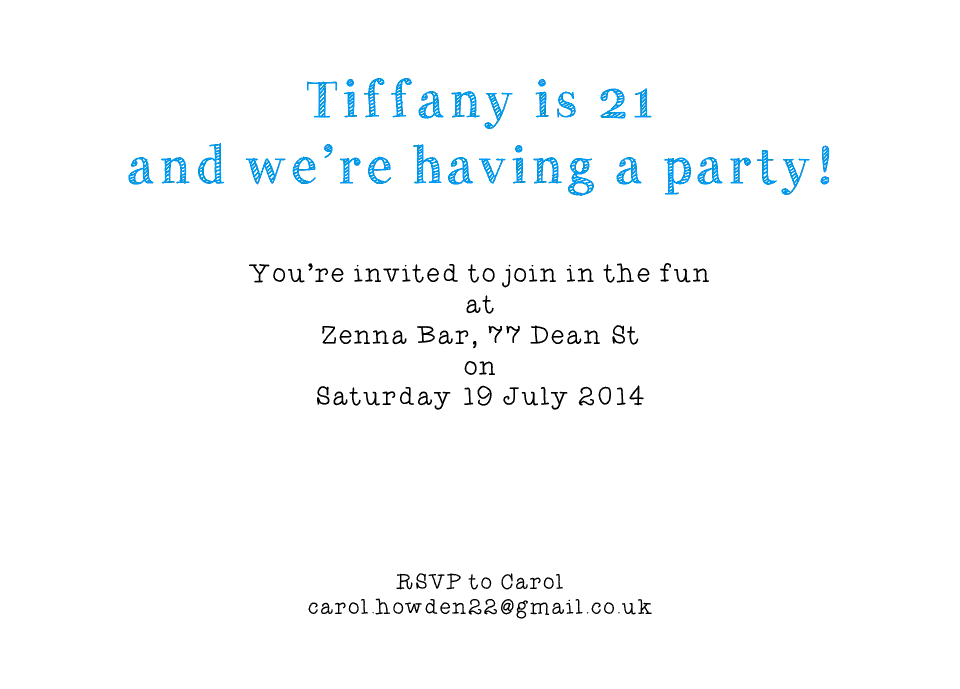 Tiffany A6 Birthday Party Invites | Design, proof and buy online | Personalised Stationery