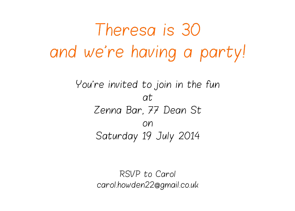 Theresa A6 Birthday Party Invites | Design, proof and buy online | Personalised Stationery