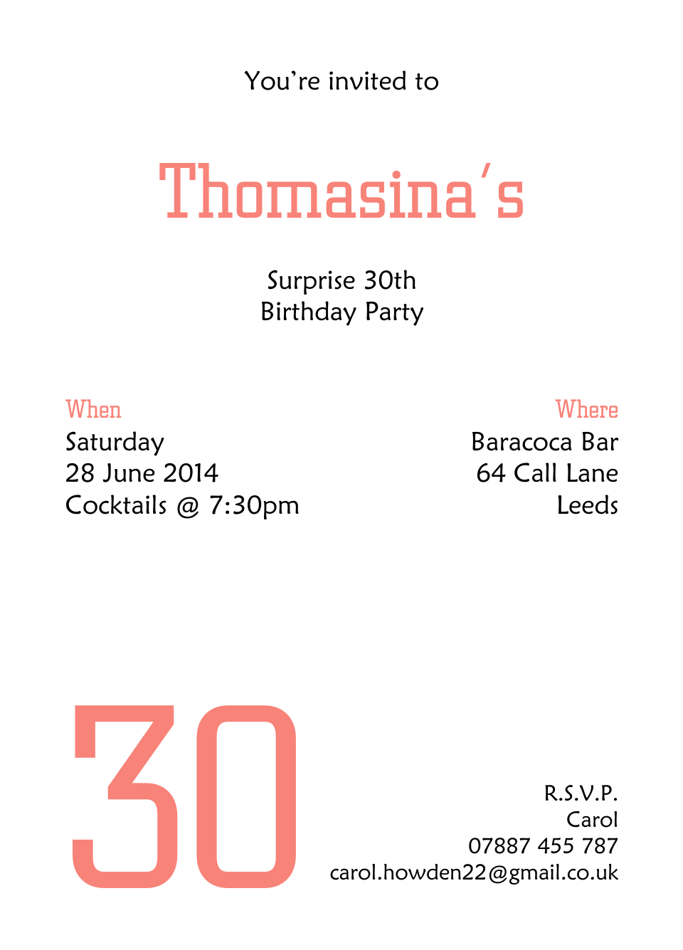 Personalised Stationery : A6 Birthday Party Invites : Thomasina