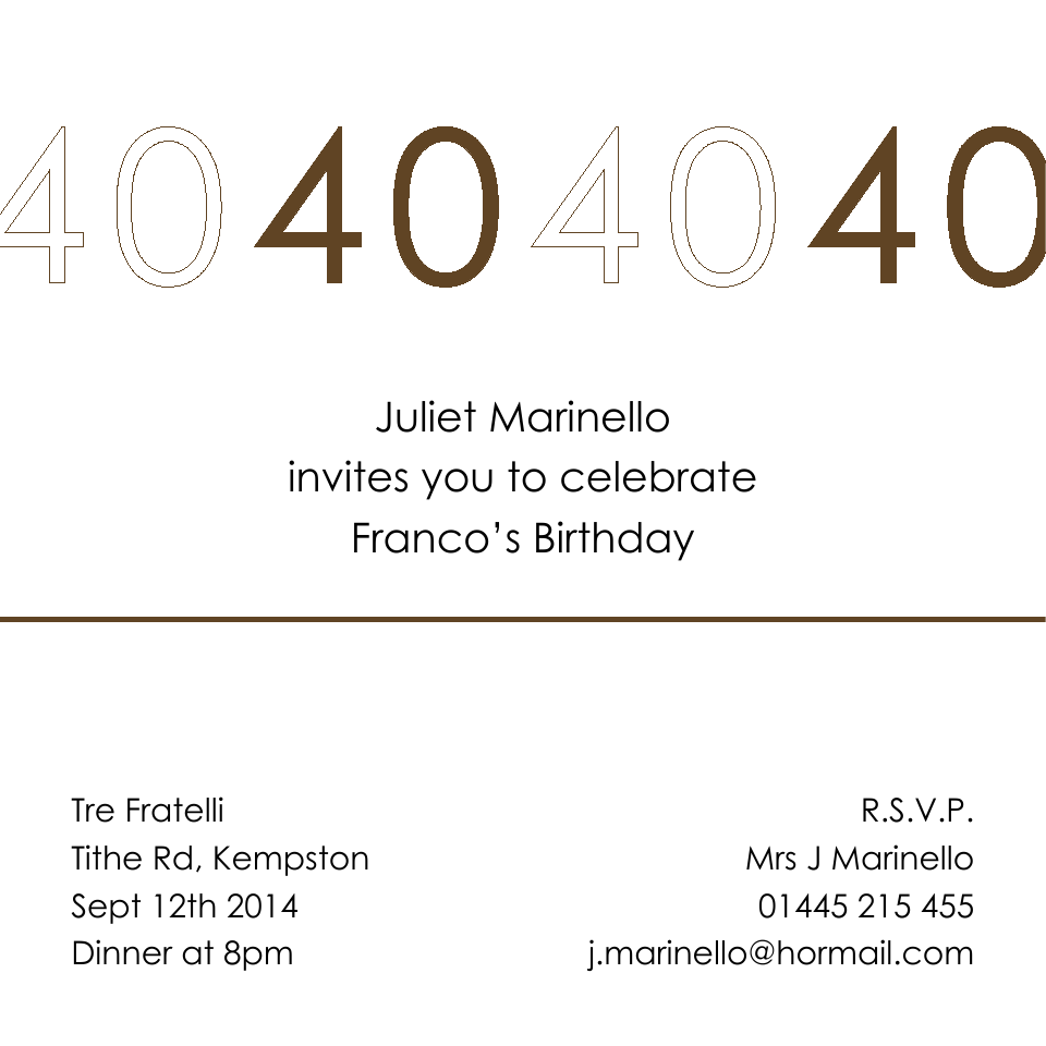 Personalised Stationery : 120mm Square Birthday Party Invites : Franco