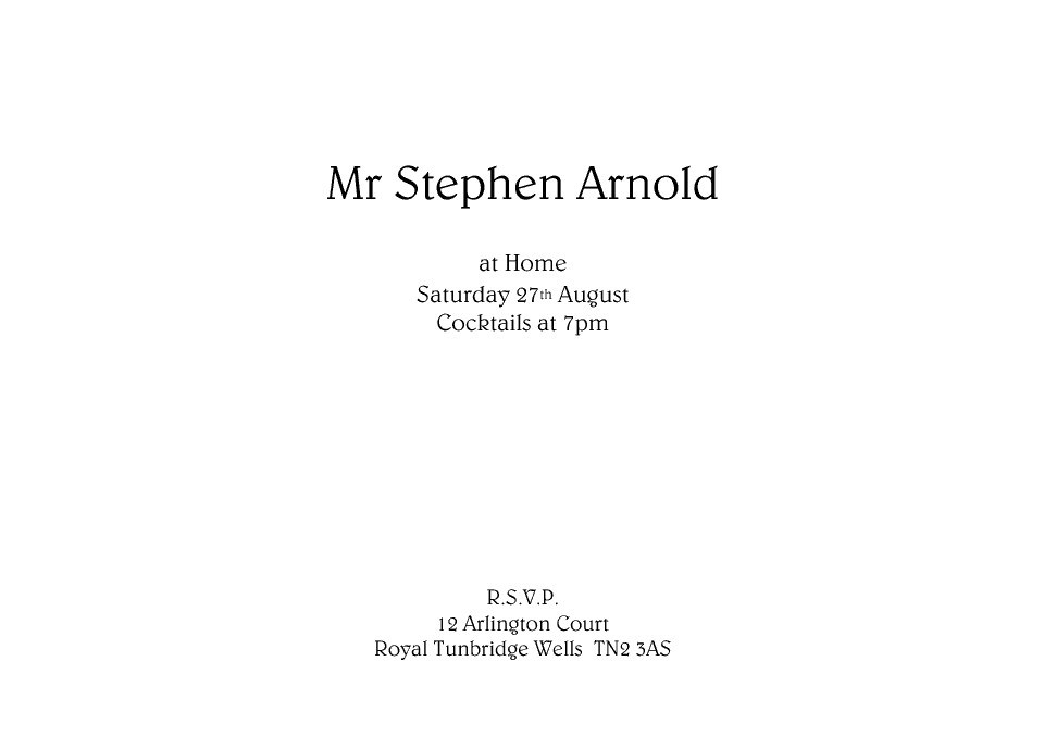 Personalised Stationery : A6 At Home Cards : Arnold
