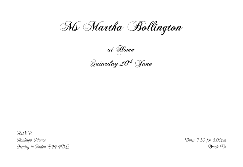 Personalised Stationery : Demi Quarto At Home Cards : Bollington