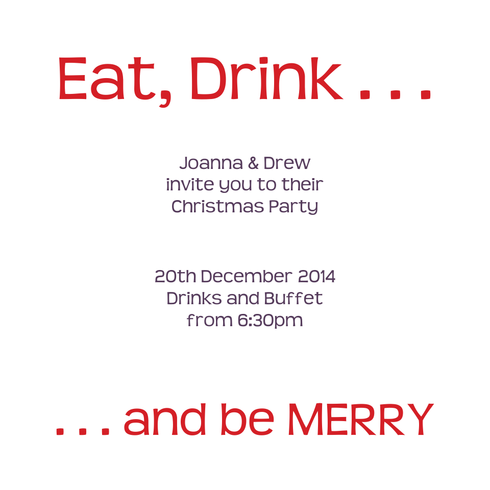 Eat Drink Merry Deer 120mm Square Folded Invites | Design, proof and buy online | Personalised Stationery