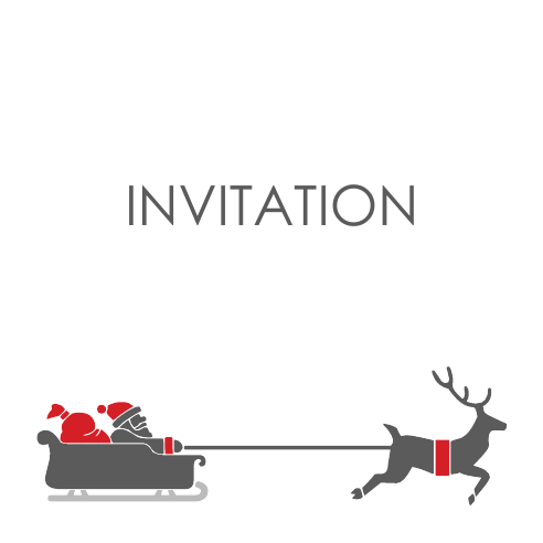 Santa Deer 120mm Square Folded Invites | Design, proof and buy online | Personalised Stationery