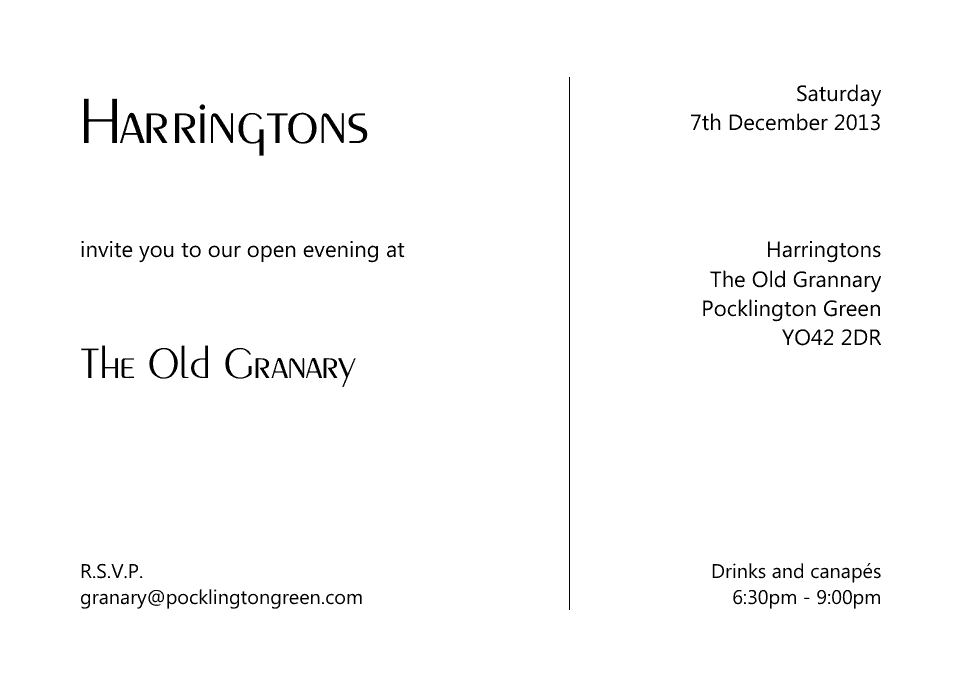 Personalised Stationery : A6 Invitation Cards : Harrington