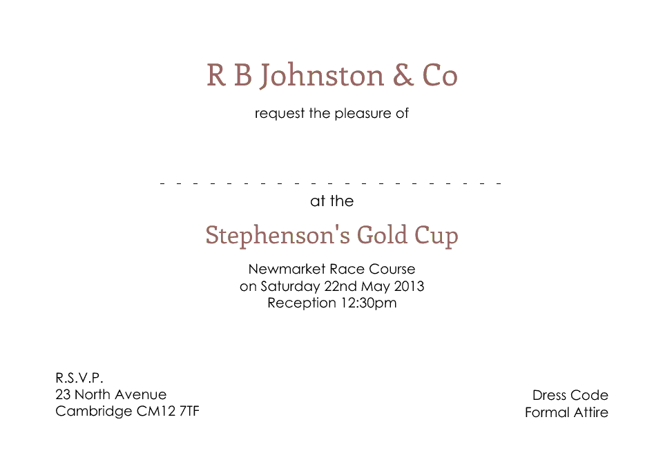 Personalised Stationery : A6 Invitation Cards : Johnston