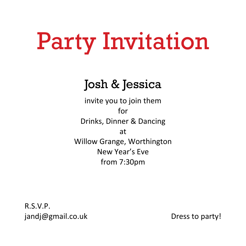 I Love NYE Double Sided Party Invites | Design, proof and buy online | Personalised Stationery