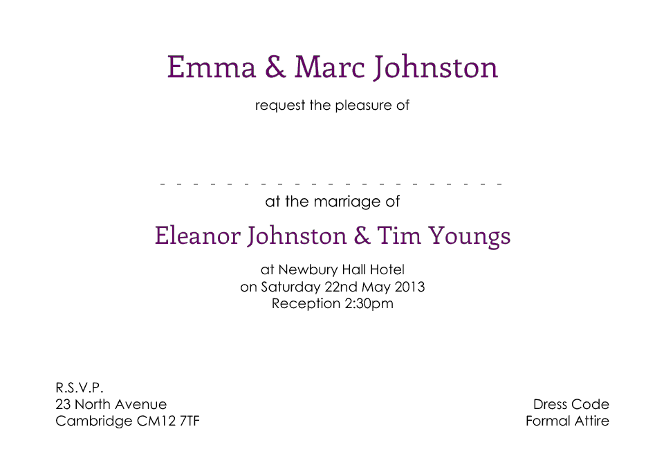 Polesden A6 Invitations | Design, proof and buy online | Personalised Stationery