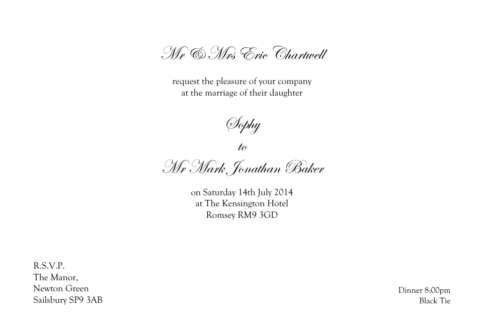 Personalised Stationery : Demi Quarto Wedding Invitations : Chartwell