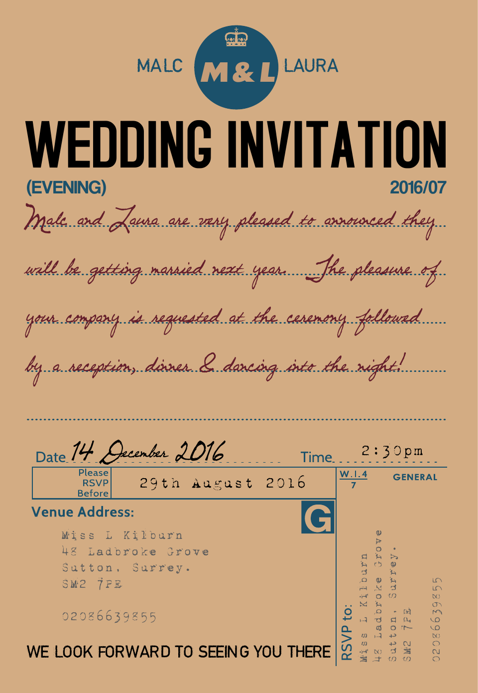 Personalised Stationery : Demi Quarto Wedding Invitations : Ration