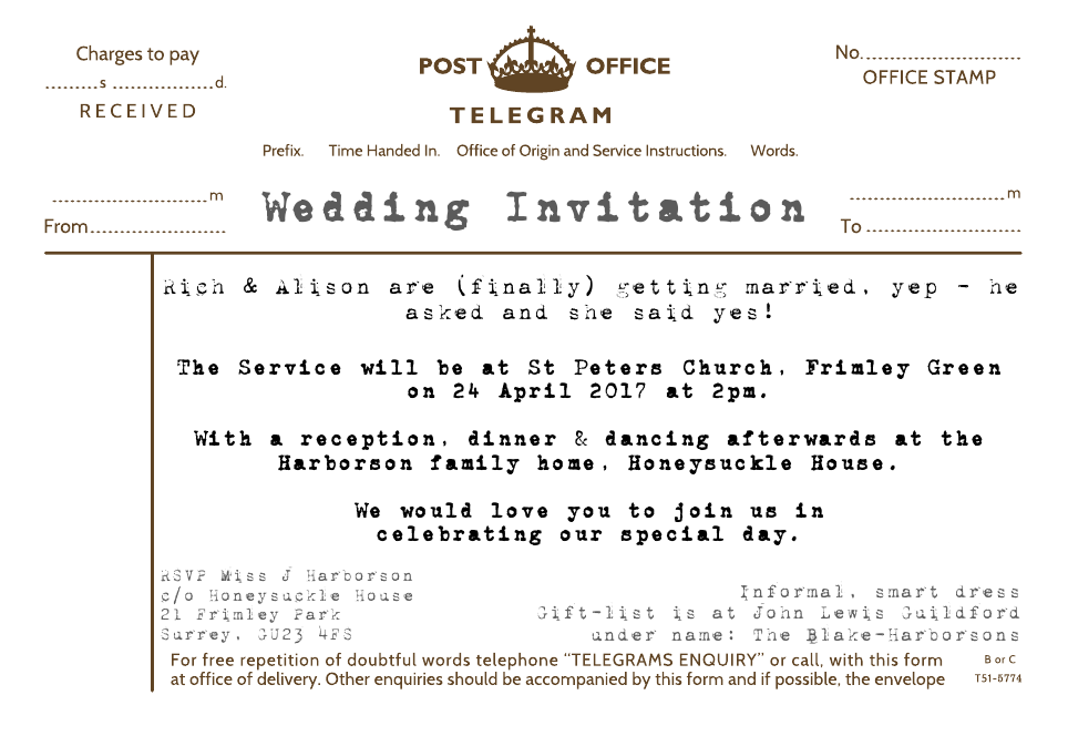 Personalised Stationery : Demi Quarto Wedding Invitations : Telegram