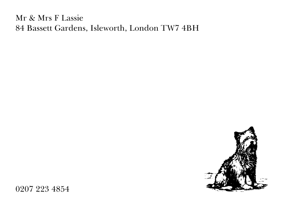 Personalised Stationery : Motif Postcards : Lassie