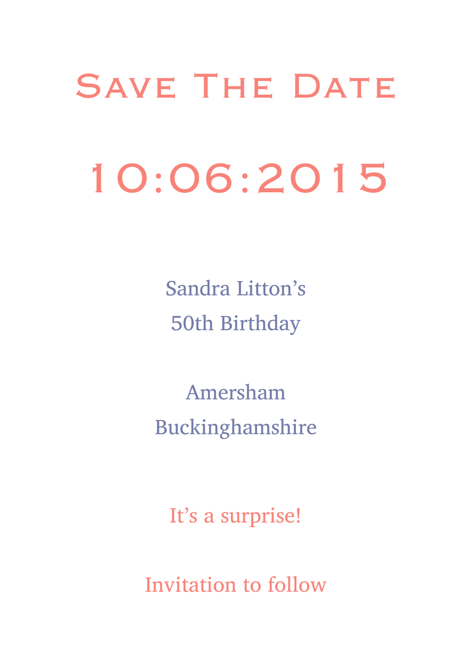 Personalised Stationery : A6 Save the Date Cards : Amersham