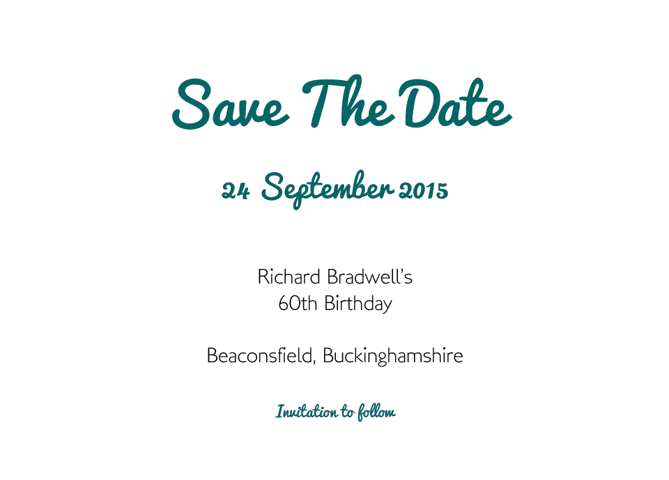 Personalised Stationery : A6 Save the Date Cards : Beaconsfield