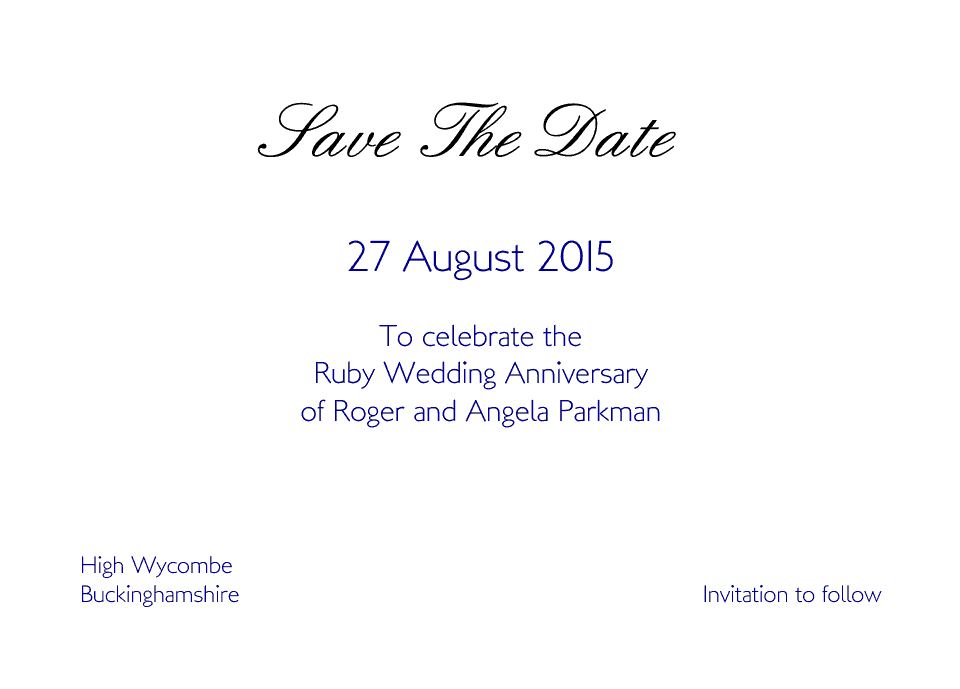 Personalised Stationery : A6 Save the Date Cards : Wycombe