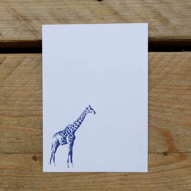 Personalised Stationery : A6 Note Card : Giraf
