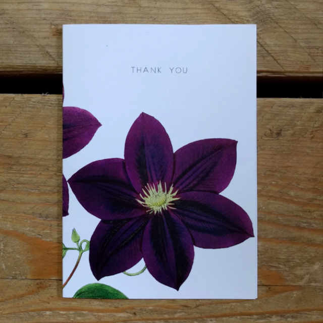 Personalised Stationery : A6 Note Card : Purple Clematis